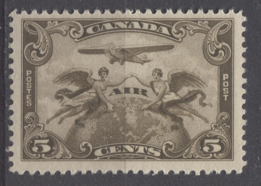 Canada #C1 (SG#274) 5c Deep Olive Brown 1928 Scroll Issue Airmail Paper With No Mesh VF-75 OG Brixton Chrome