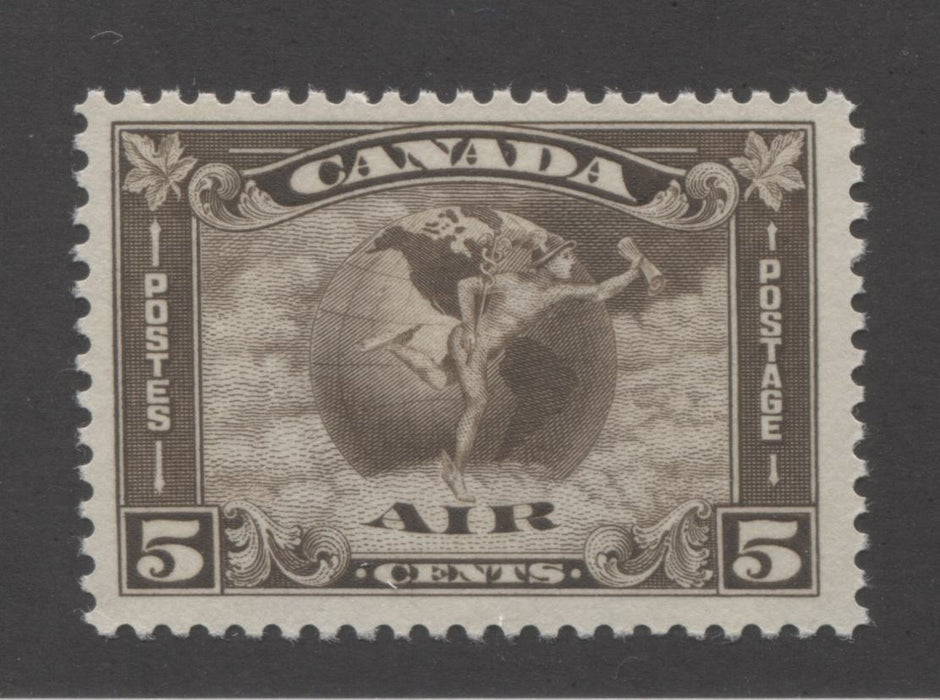 Canada #C2 5c Deep Olive Brown Mercury and Globe, 1930-1935 Arch Issue, A Fine Mint NH Example With Jumbo Margins and Cream Gum Brixton Chrome