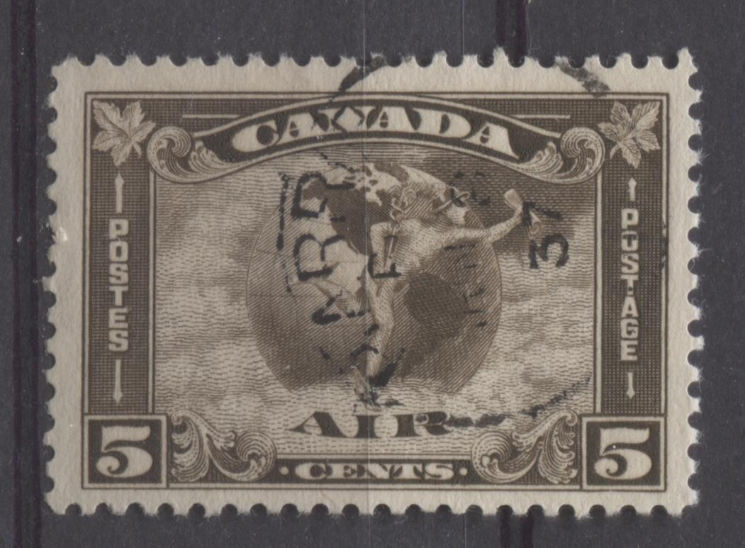 Canada #C2 (SG#310) 5c Agate 1930 Arch Issue Airmail Fine Vertical Mesh F-70-J Used Brixton Chrome