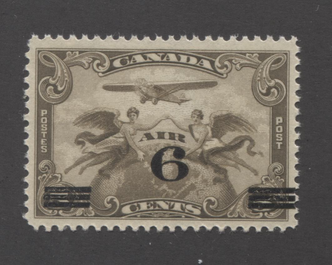 Canada #C3 6c on 5c Deep Olive Brown Allegory of Flight, 1932 Surcharged Airmail Issue, A Very Fine NH Mint Example Brixton Chrome