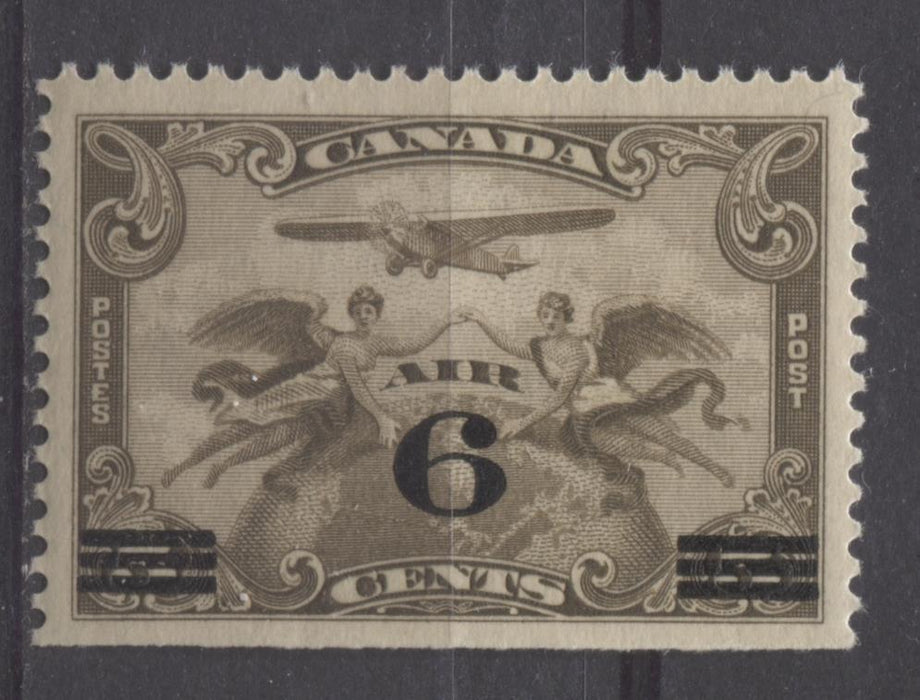 Canada #C3 (SG#313) 6c on 5c Olive Brown 1932 Surcharged Airmail Fine Mesh Paper VF-75 NH Brixton Chrome