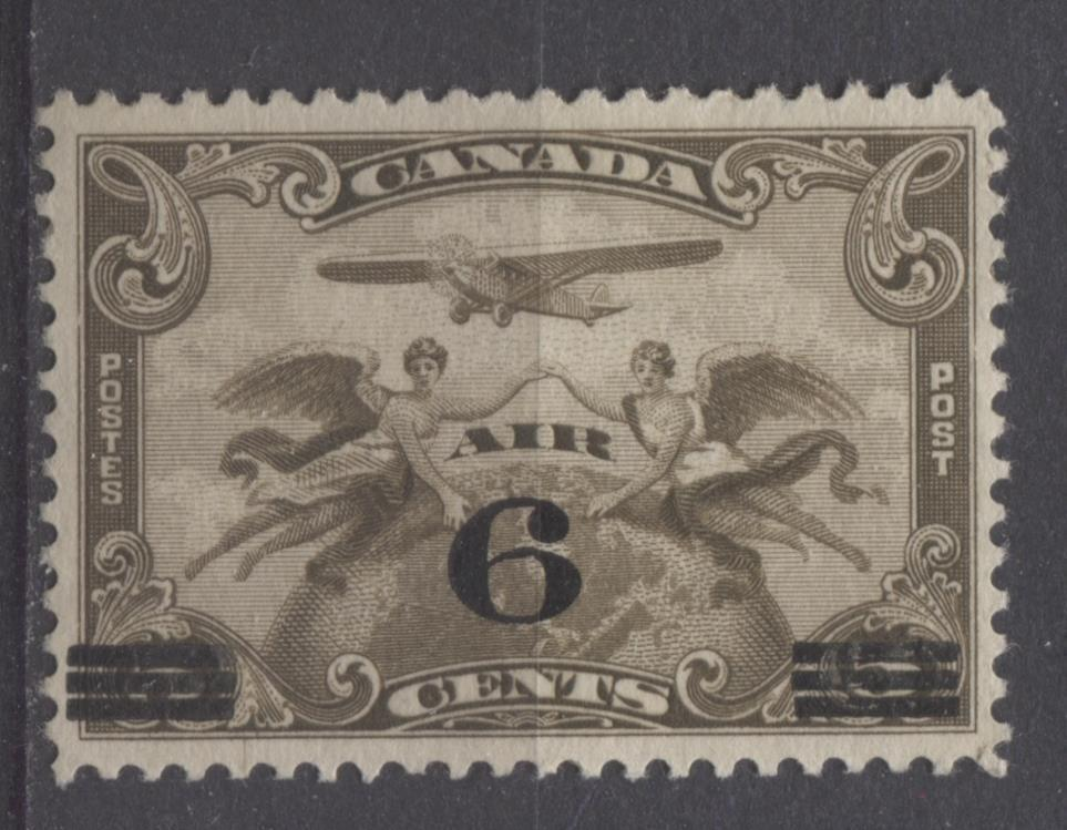 Canada #C3 (SG#313) 6c on 5c Olive Brown 1932 Surcharged Airmail Fine Mesh Paper VF-80 Unused Brixton Chrome