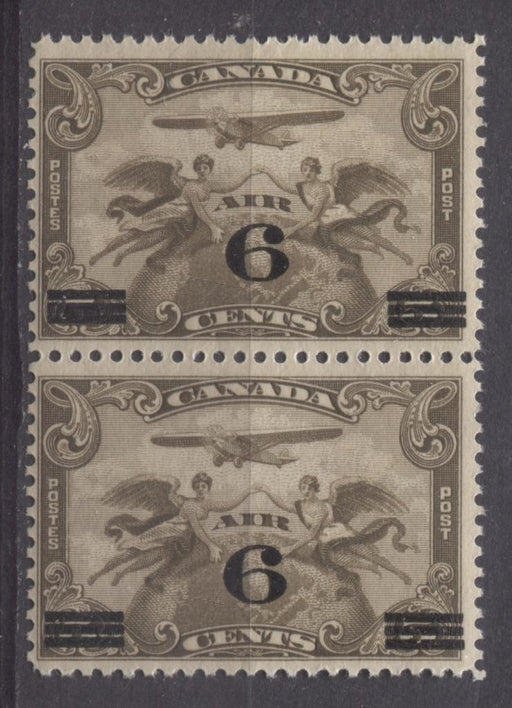 Canada #C3 (SG#313) 6c on 5c Olive Brown 1932 Surcharged Airmail Joined Bar Pair F-65 NH Brixton Chrome