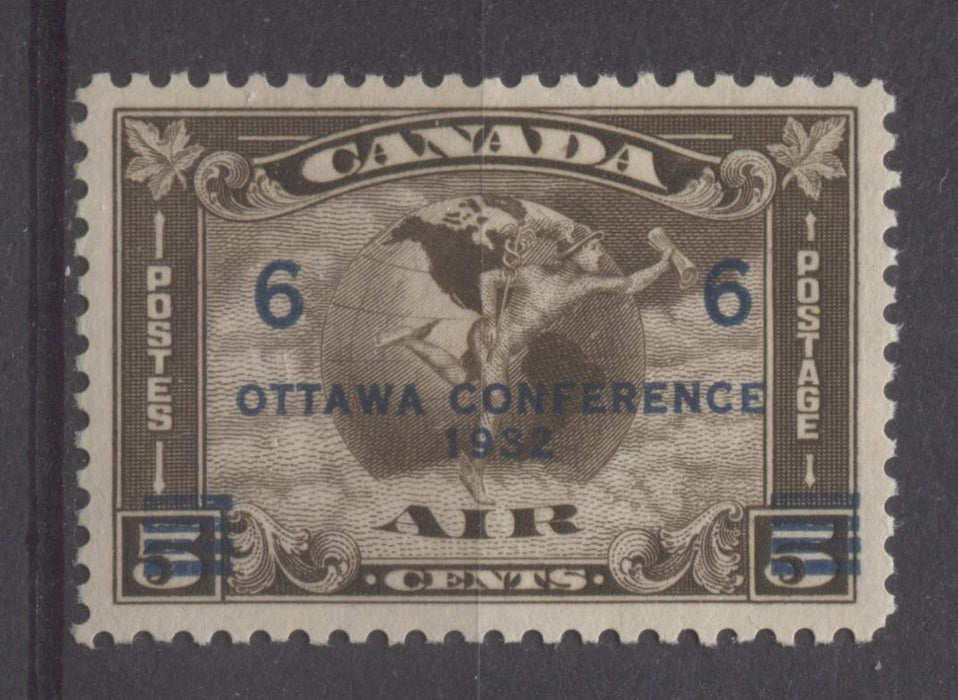 Canada #C4 (SG#318) 6c on 5c Deep Sepia 1932 Ottawa Conference Airmail Cream Gum VF-80 NH Brixton Chrome