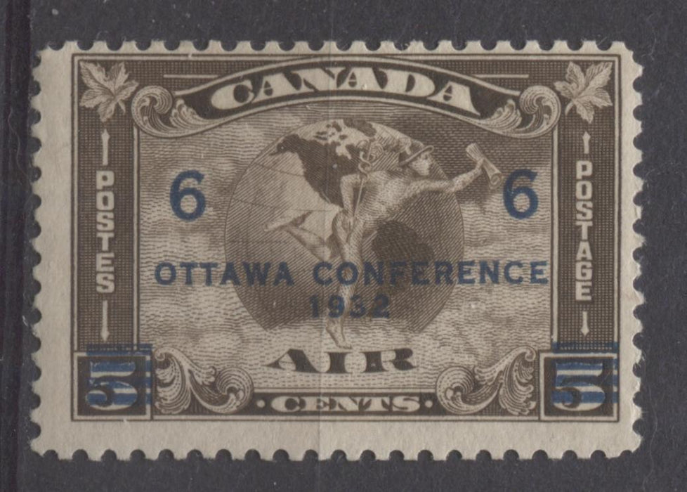 Canada #C4 (SG#318) 6c on 5c Sepia 1932 Ottawa Conference Airmail Cream Gum F-65 OG Brixton Chrome