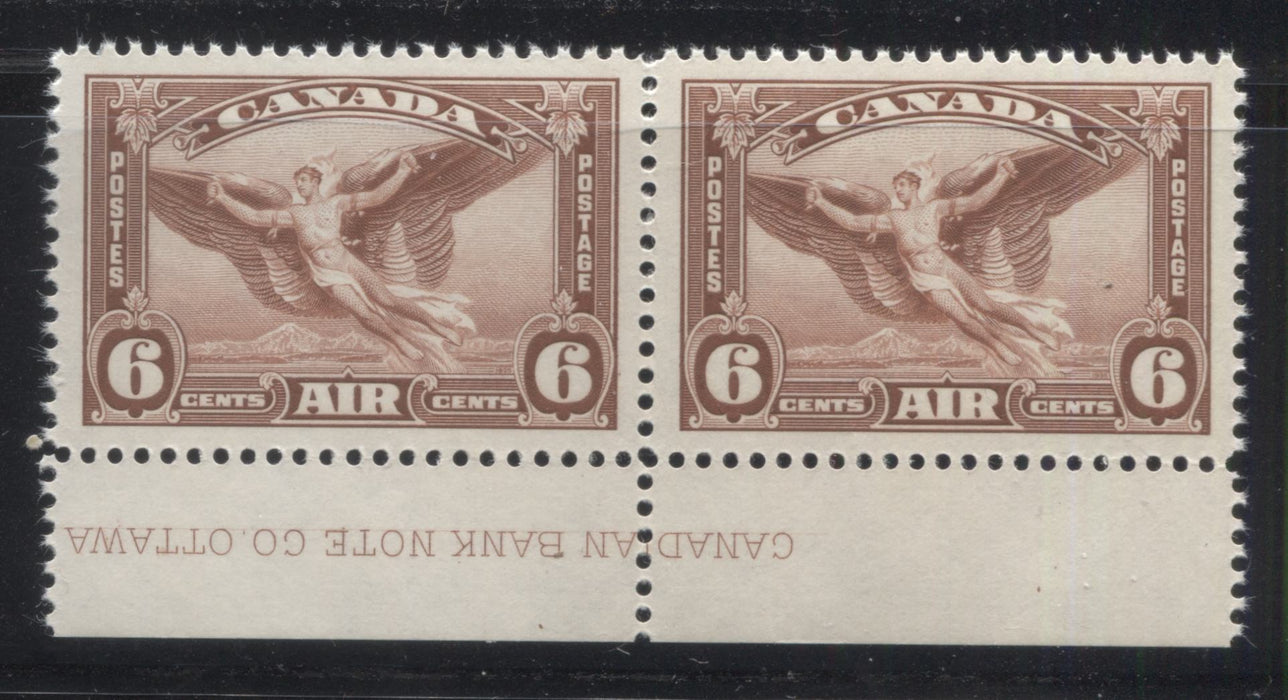 Canada #C5 6c Bright Red Brown Daedalus Airmail, 1935 Dated Die Issue, VFOG Lower Left Plate 1 Pair Brixton Chrome