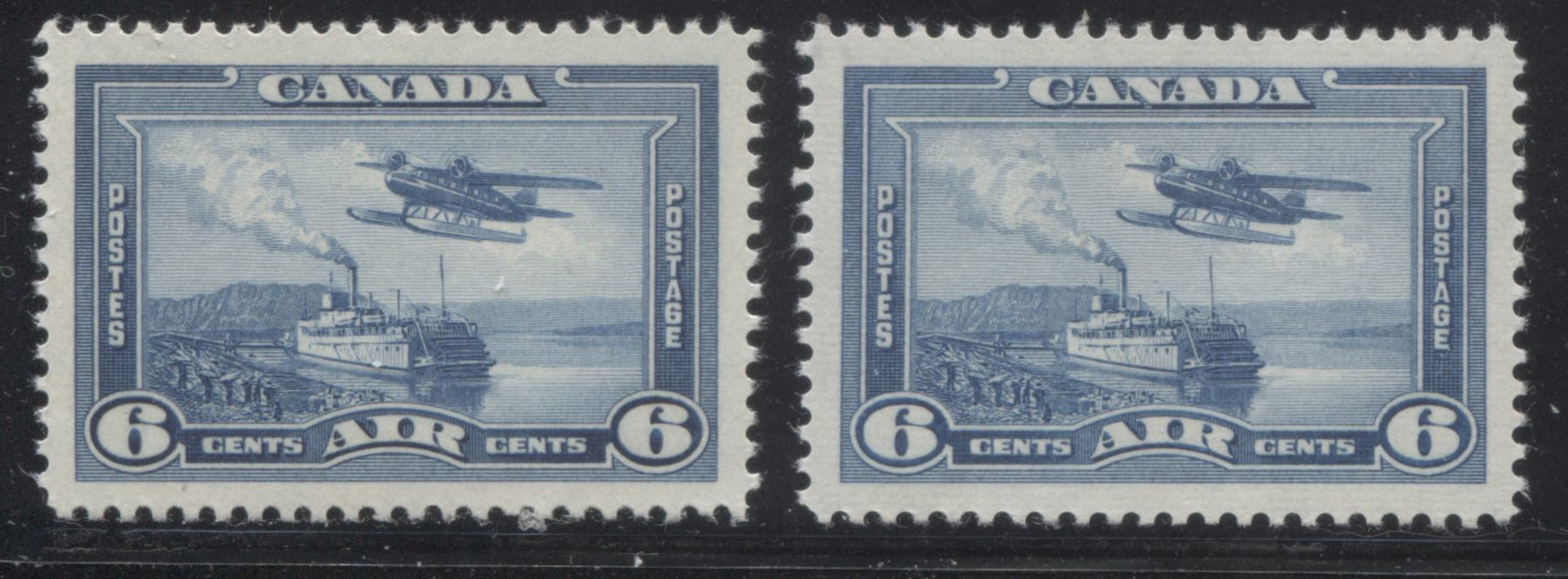 Canada #C6 6c Steel Blue Monoplane Over Mackenzie River, 1937-1942 Mufti Issue, Two Very Fine NH Mint Examples, Each a Different Shade and Paper Brixton Chrome