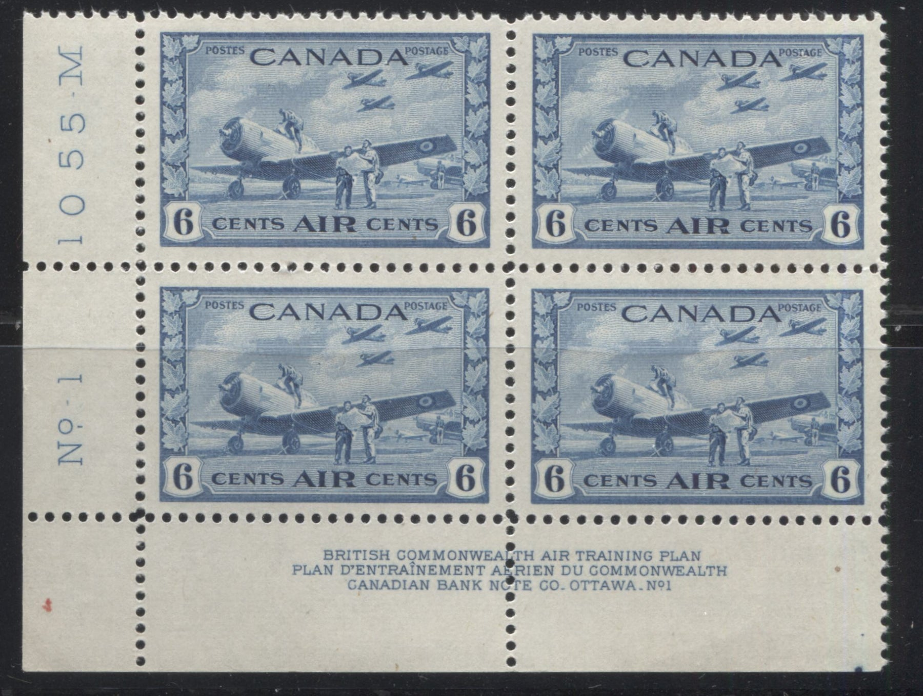 Canada #C7 6c Deep Dull Blue RCAF Training Field, 1942-1949 War Issue A Very Fine NH Lower Left Plate 1 Block Brixton Chrome