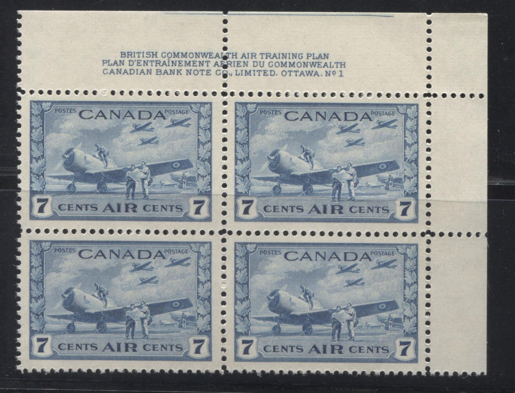 Canada #C8 7c Deep Dull Blue RCAF Training Field, 1942-1949 War Issue A Very Fine NH Upper Right Plate 1 Block Brixton Chrome