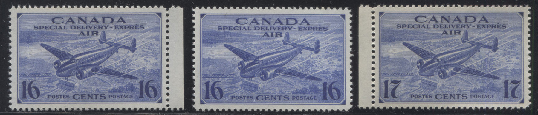 Canada #CE1-2 16c-17c Deep Ultramarine Trans Canada Airplane, 1942-1949 War Issue, Three Very Fine NH Singles, Showing 2 Shades of the 16c Brixton Chrome