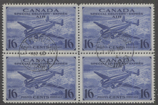 Canada #CE1 (SG#S13) 16c Deep Bright Ultramarine 1942 Air Mail Special Delivery, A Beautiful CDS Block of 4 Brixton Chrome