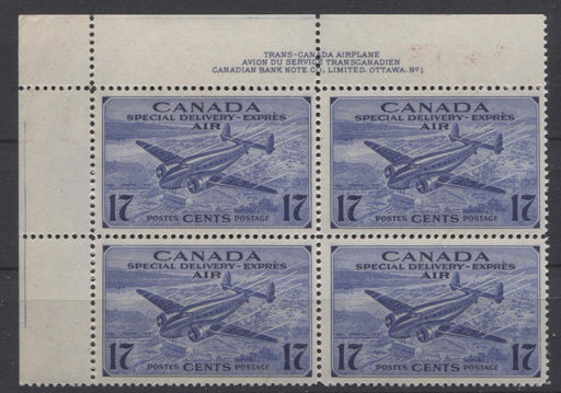 Canada #CE1 (SG#S14) 17c Deep Blue 1942 Air Mail Special Delivery Plate 1 UL Block VF-75 NH Brixton Chrome
