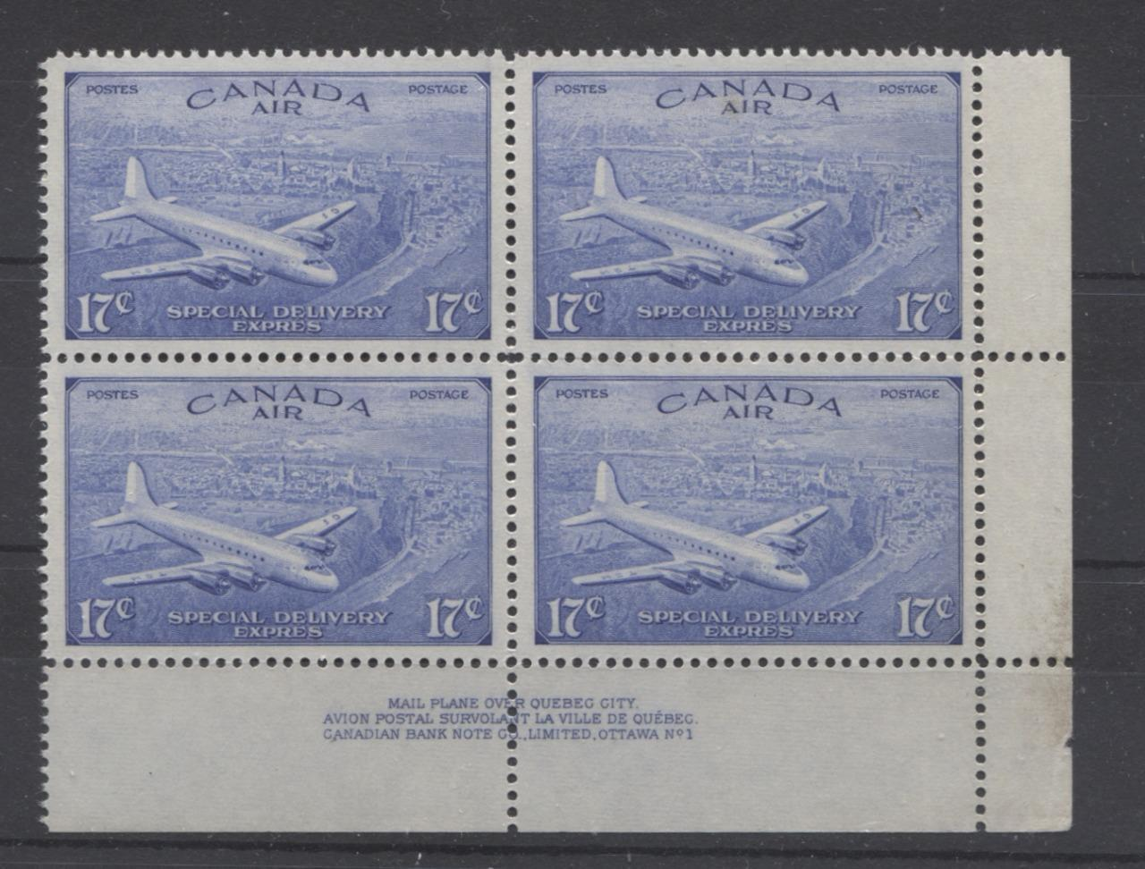 Canada #CE1 (SG#S16) 17c Deep Ultramarine 1946 Air Mail Special Delivery Plate 1 LR Block VF-84 NH Brixton Chrome