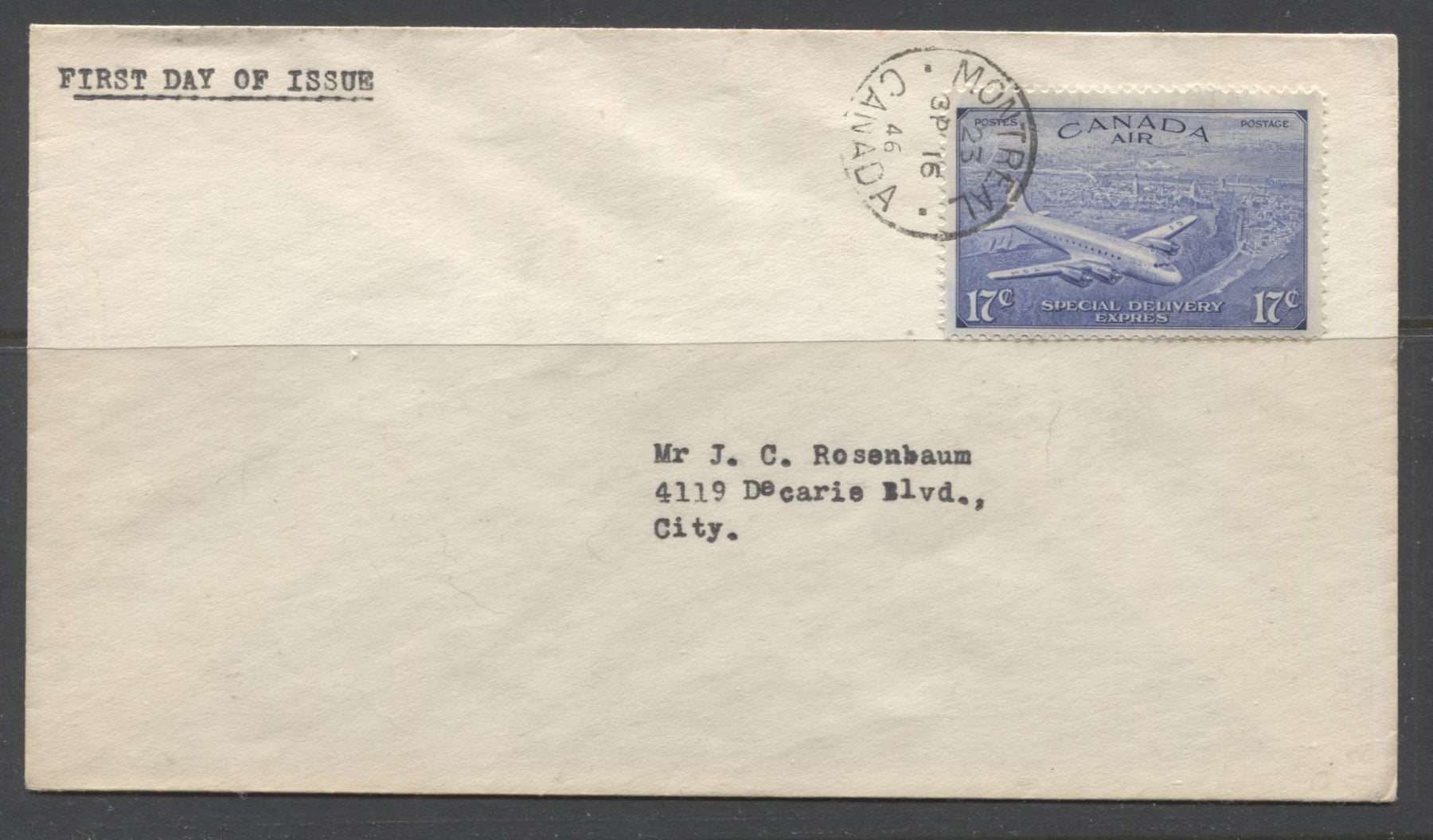 Canada #CE3 17c Deep Ultramarine 1946-1951 Peace Issue, Circumflex Accent, on Very Fine Addressed First Day Cover Brixton Chrome
