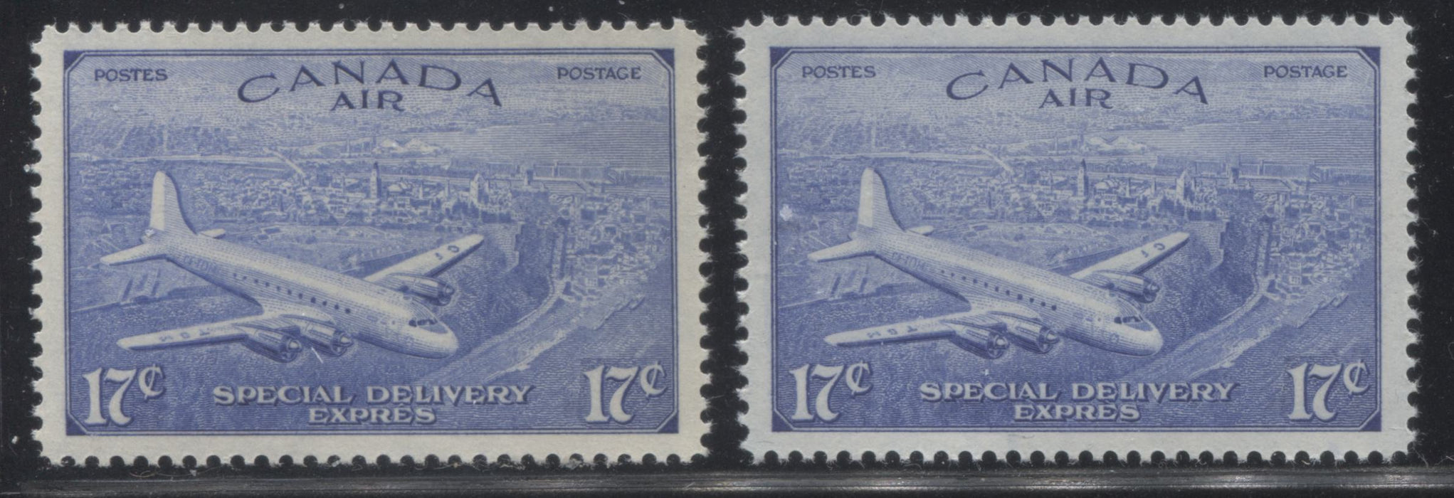 Canada #CE3-4 17c Deep Ultramarine D.C. 4-M Airplane, 1946-1951 Peace Issue, Two Very Fine NH Singles Brixton Chrome