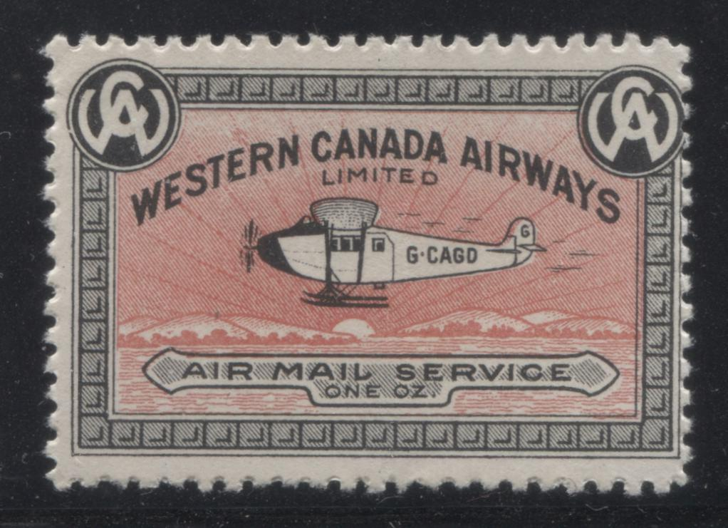 Canada #CL40 10c Black and Pink 1927 Western Canada Airways Service, A Fine NH Mint Single Brixton Chrome