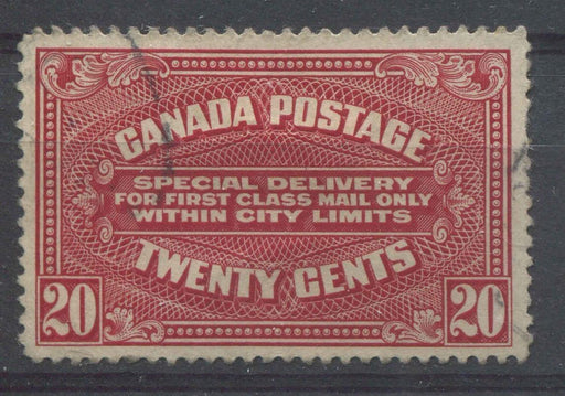 Canada #E2a (SG#S4) 20c Deep Carmine Red Special Delivery Wet Printing F-65 Used Brixton Chrome