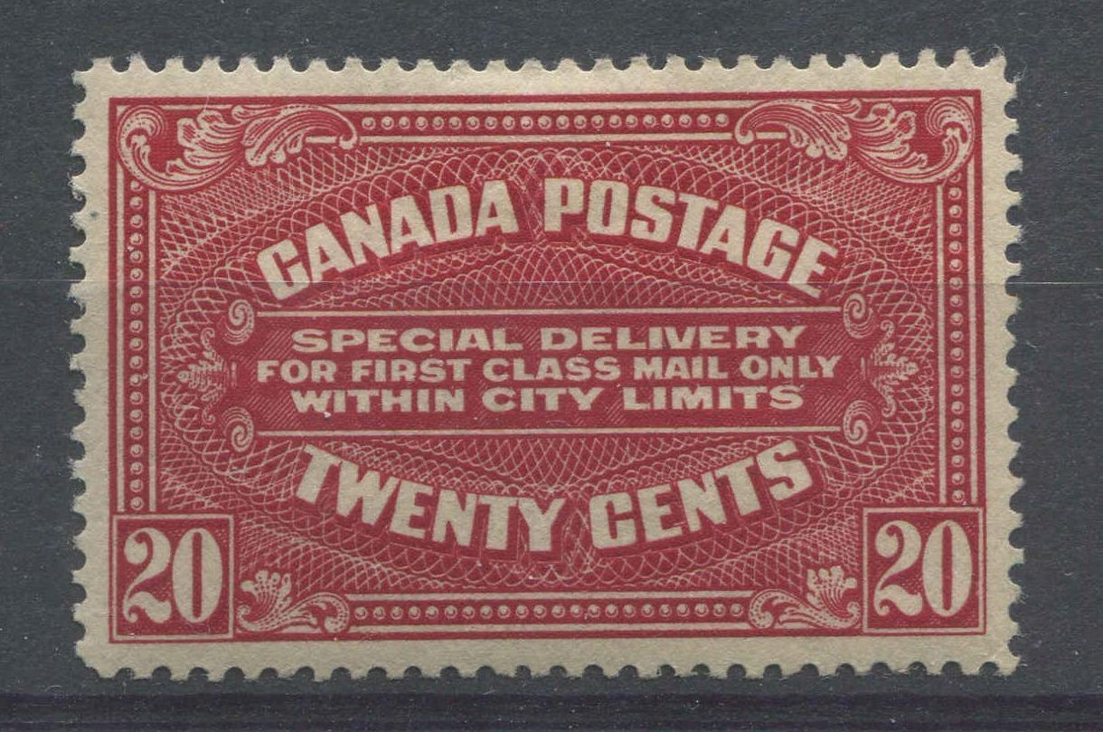 Canada #E2a (SG#S4) 20c Deep Carmine Red Special Delivery Wet Printing VF-82 OG HR Brixton Chrome