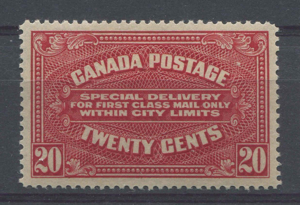 Canada #E2a (SG#S4) 20c Deep Rose Red Special Delivery Wet Printing VF-82 OG Brixton Chrome