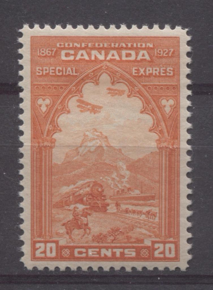 Canada #E3 (SG#S5) 20c Deep Dull Orange Red 1927 Confederation Issue Paper With No Mesh VF-84 OG Brixton Chrome