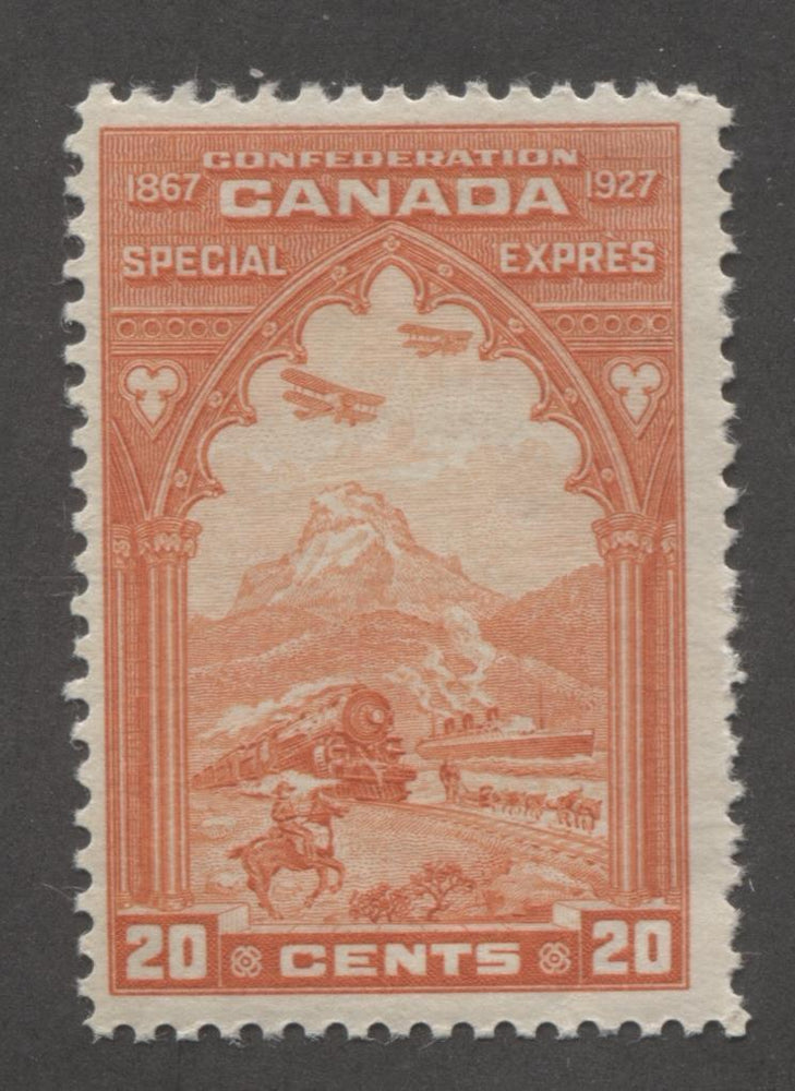 Canada #E3 (SG#S5) 20c Orange Red 1927 Confederation Issue Paper With No Mesh F-68 NH Brixton Chrome
