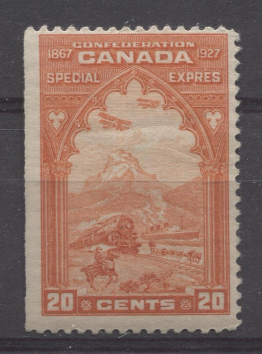 Canada #E3 (SG#S5) 20c Orange Red 1927 Confederation Issue Paper With No Mesh F-70 OG Brixton Chrome