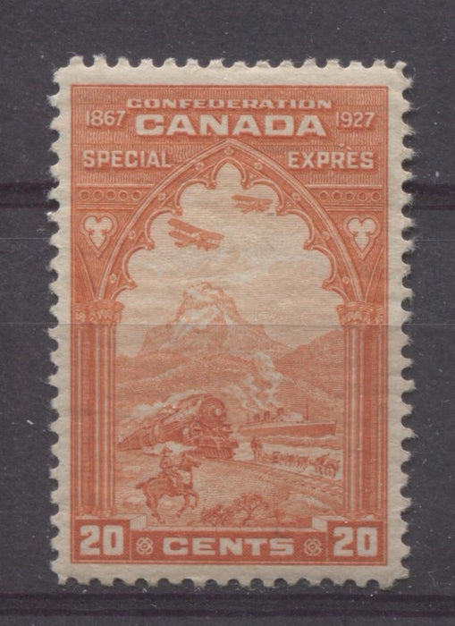 Canada #E3 (SG#S5) 20c Orange Red 1927 Confederation Issue Paper With No Mesh VF-75 OG Brixton Chrome