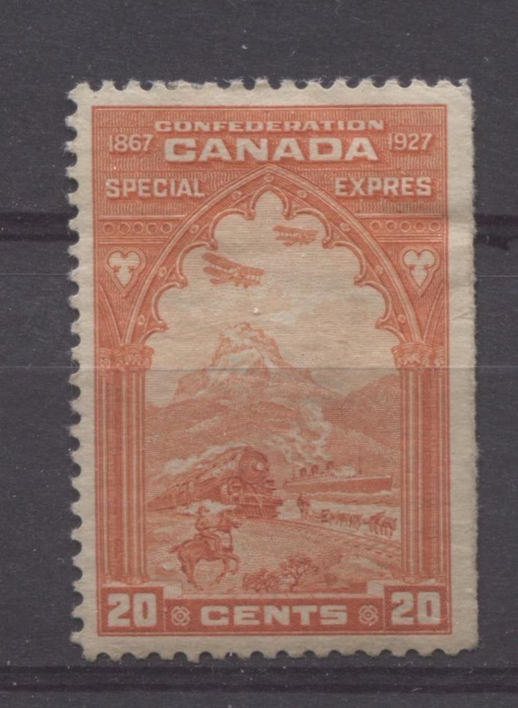 Canada #E3 (SG#S5) 20c Orange Red 1927 Confederation Issue Paper With No Mesh VF-75 OG HR Brixton Chrome