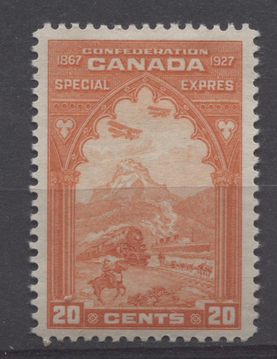 Canada #E3 (SG#S5) 20c Orange Red 1927 Confederation Issue Paper With No Mesh VF-80 OG Brixton Chrome