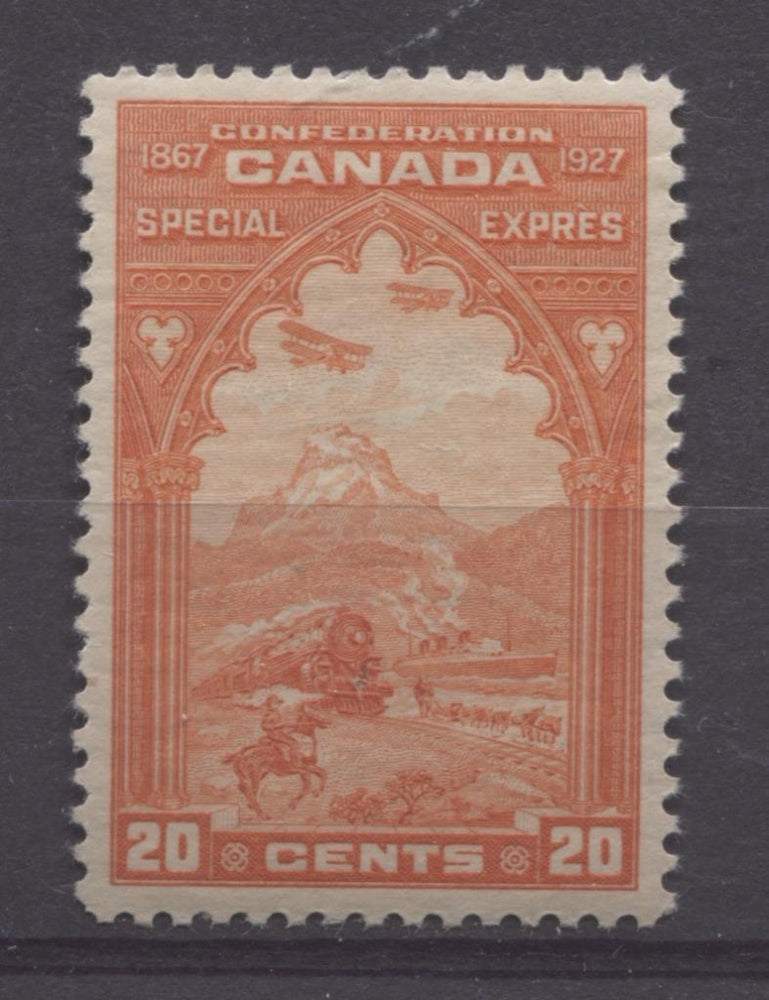 Canada #E3 (SG#S5) 20c Orange Red 1927 Confederation Issue Paper With No Mesh VF-83 Disturbed OG Brixton Chrome