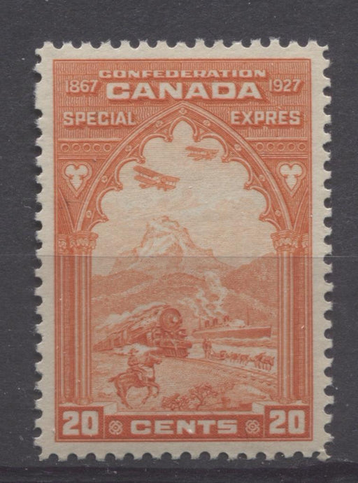 Canada #E3 (SG#S5) 20c Orange Red 1927 Confederation Issue Paper With No Mesh VF-84 NH Brixton Chrome