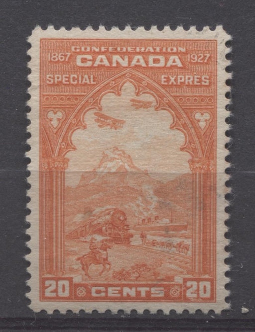 Canada #E3 (SG#S5) 20c Orange Red Transport 1927 Confederation Issue Paper With No Mesh SUP-96 Used Brixton Chrome
