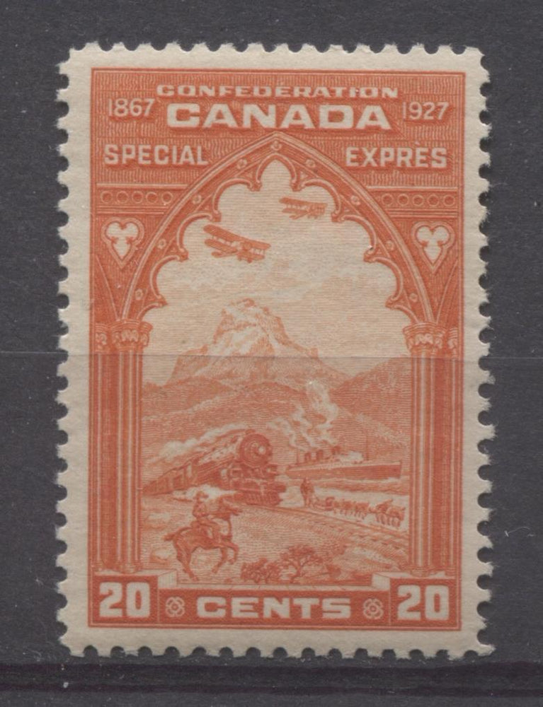Canada #E3 (SG#S5) (SG#S5) 20c Deep Bright Orange Red 1927 Confederation Issue Paper With No Mesh VF-75 NH Brixton Chrome