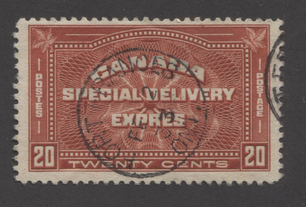 Canada #E4 20c Brownish Vermilion , 1930-1935 Arch Issue Special Delivery, Fine Used Example With February 2, 1933 Fort Frances CDS Brixton Chrome