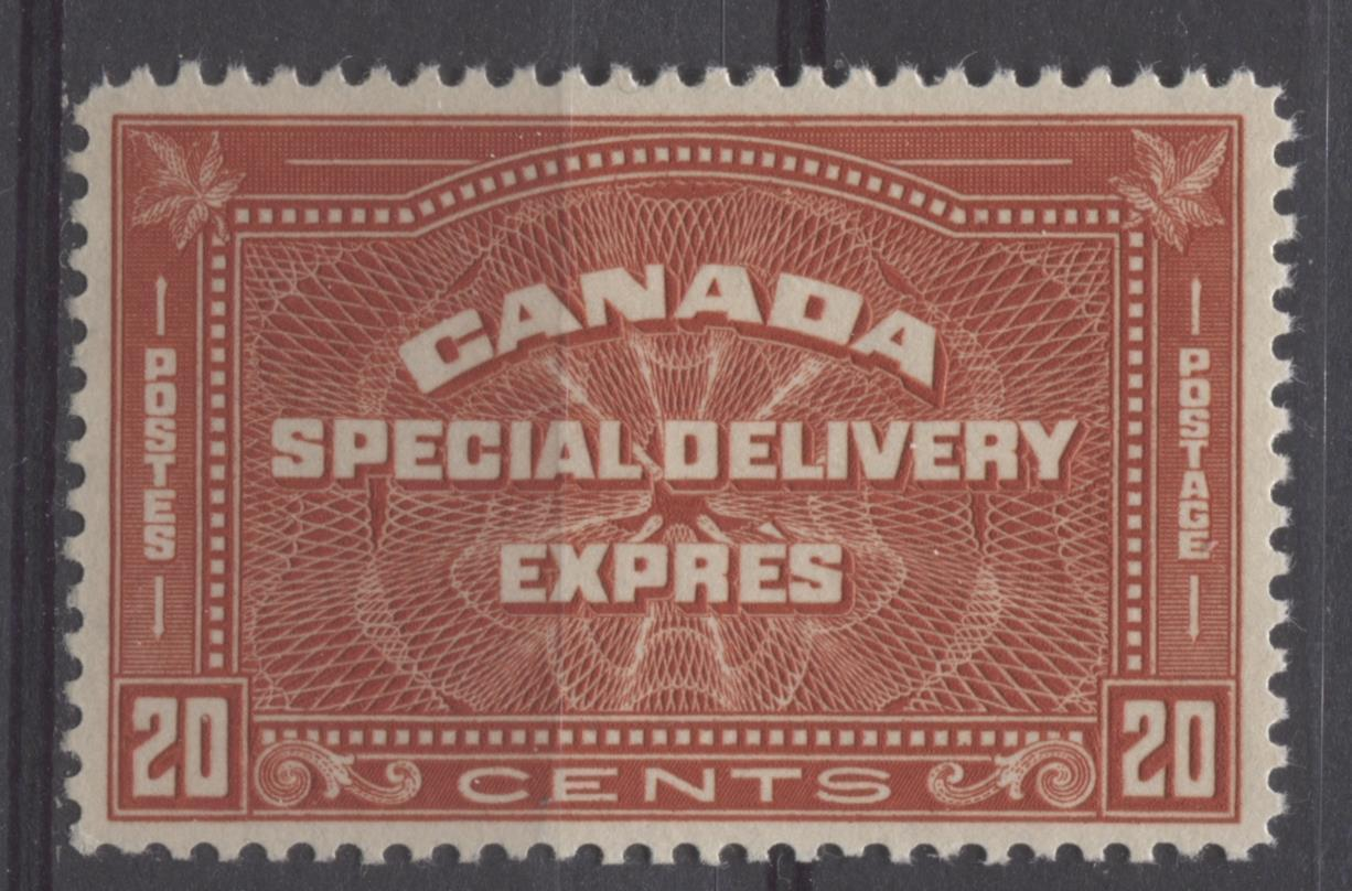 Canada #E5 (SG#S7) 20c Deep Indian Red 1932-35 Medallion Issue Cream Gum VF-84 LH Brixton Chrome