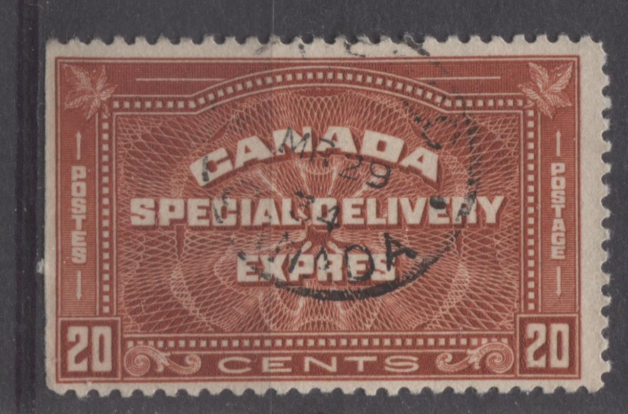 Canada #E5 (SG#S7) 20c Deep Indian Red 1932-35 Medallion Issue F-70 Used Brixton Chrome