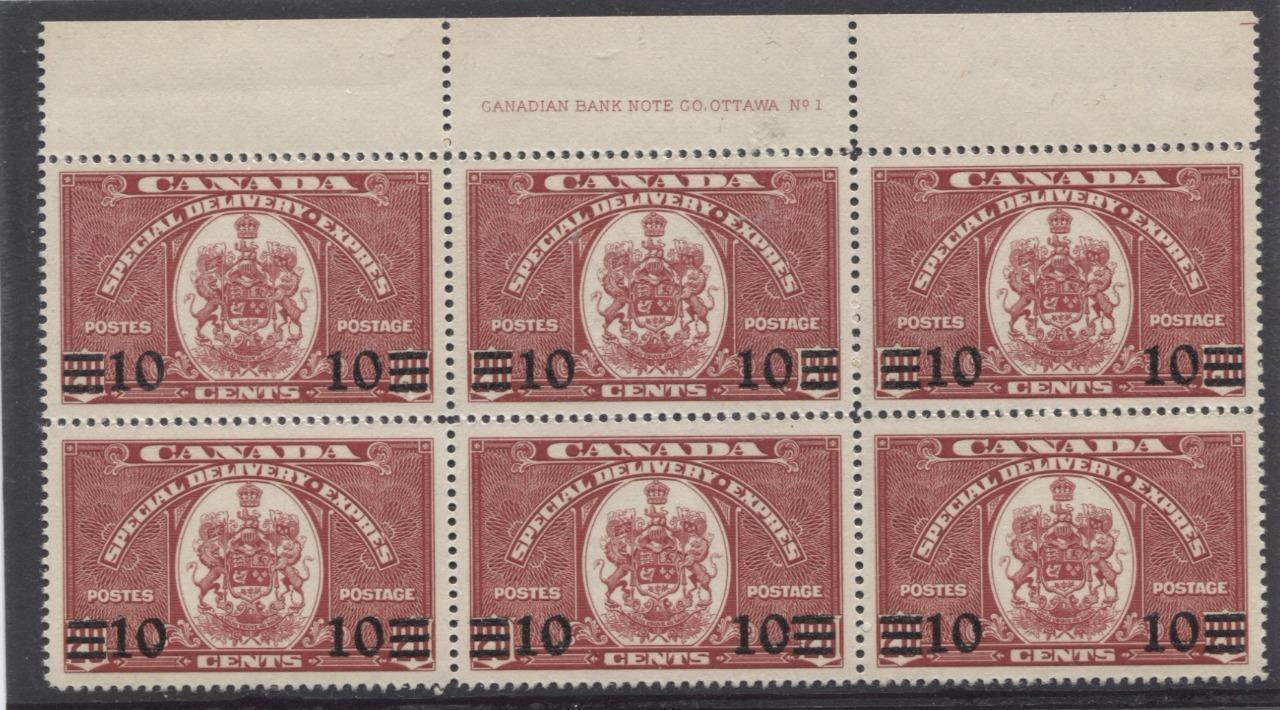 Canada #E8 (SG#S11) 10c on 20c Carmine 1939 Special Delivery Plate 1 UR Block of 6 VF-84 NH Brixton Chrome