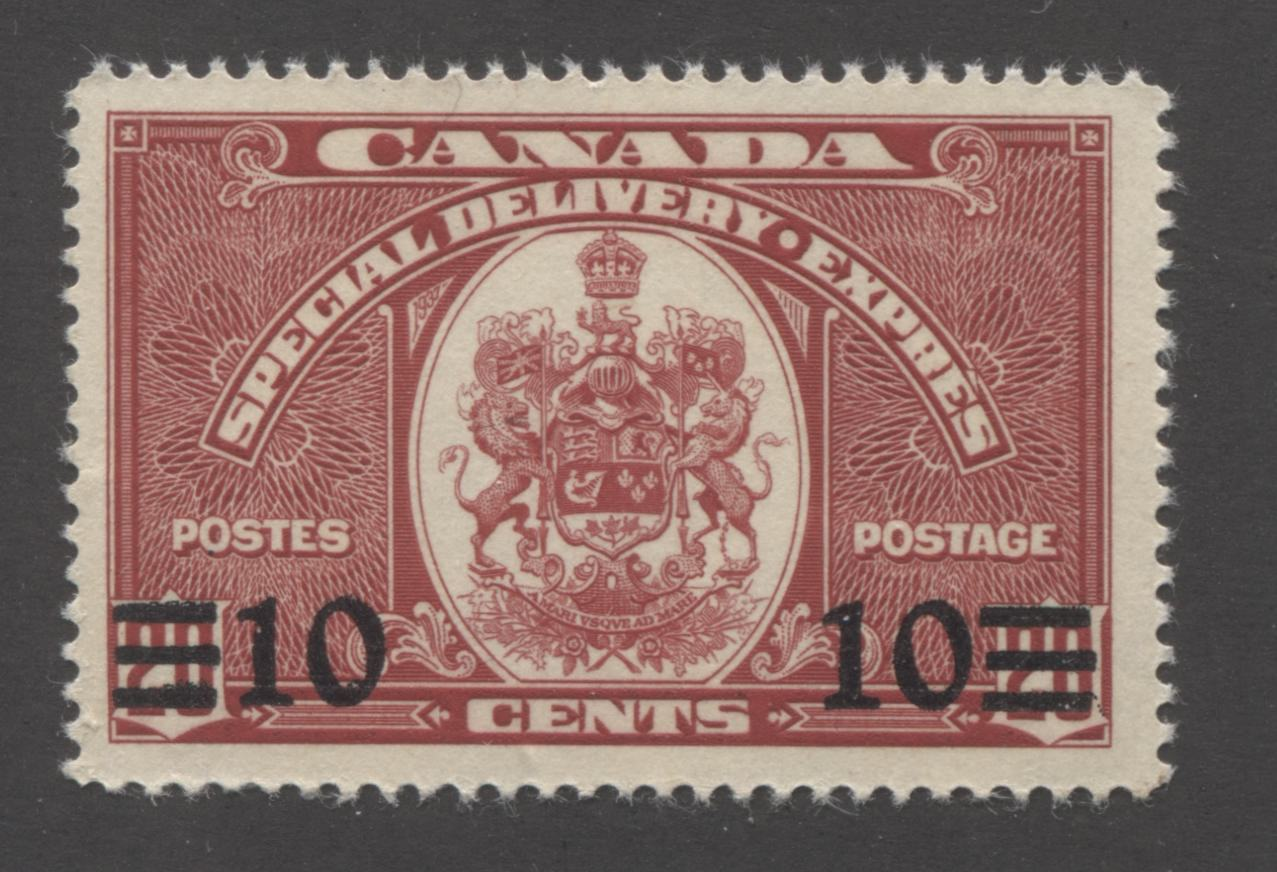 Canada #E9 10c on 20c Carmine Canada Arms, 1937-1942 Mufti Issue Special Delivery A Fine Mint NH Example Brixton Chrome
