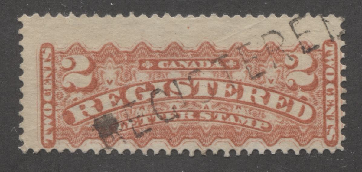 Canada #F1b 2c Rose Carmine 1875-88 Registered Issue, A Fine Used Example of the Montreal Gazette Printing Brixton Chrome