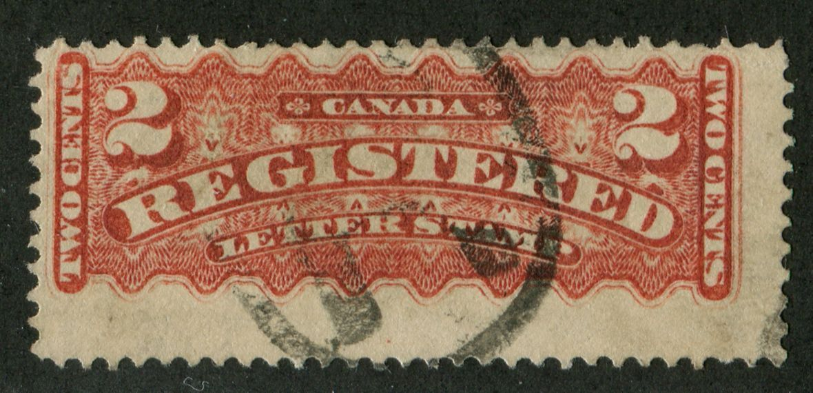 Canada #F1b (SG#R4) 2c Deep Rose Carmine 1875-88 Registered Montreal Printing VG-63 Used Brixton Chrome