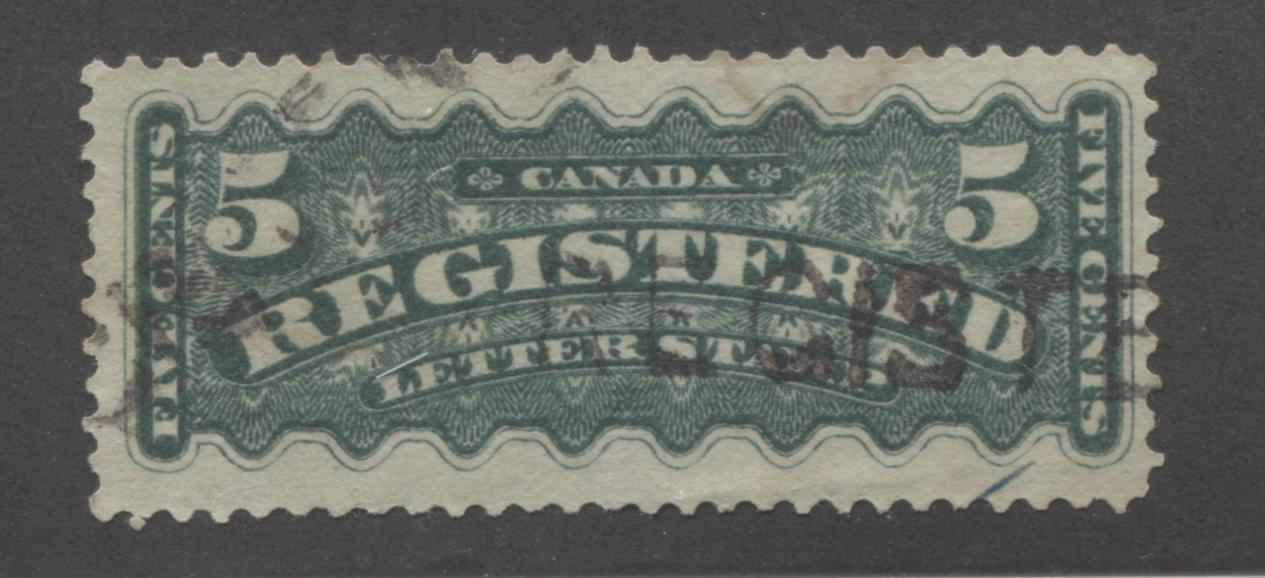 Canada #F2 5c Dark Green 1875-1897 Registration Issue, A Very Fine Used Example of the Second Ottawa Printing, Perf. 12.1 x 12 Brixton Chrome