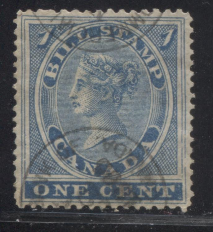 Canada #FB1 1c Blue Queen Victoria, 1864-1868 First Bill Issue, A Very Fine Used Example Showing Breaks in the Right Frameline Brixton Chrome