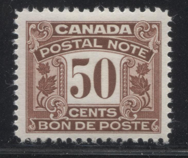 Canada #FPS17 50c Reddish Brown 1932-1948 First Postal Scrip Issue, A Very Fine Mint NH Example Brixton Chrome