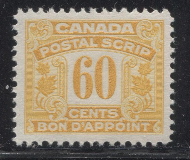 Canada #FPS18 60c Orange Yellow 1932-1948 First Postal Scrip Issue, A Very Fine Mint NH Example Brixton Chrome