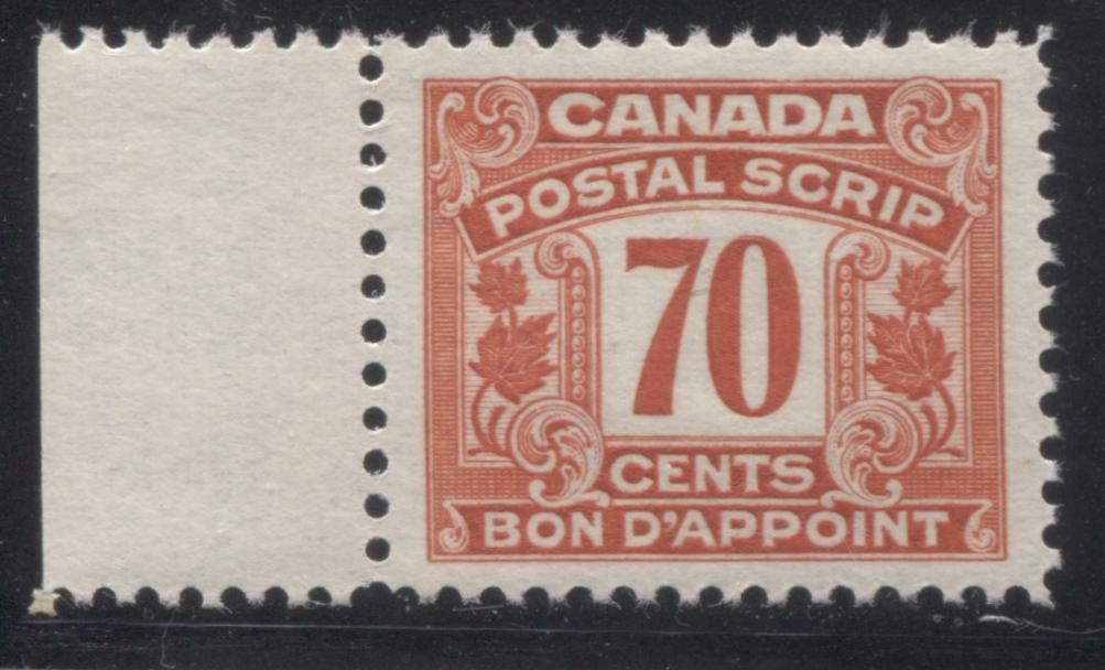 Canada #FPS19 70c Deep Salmon 1932-1948 First Postal Scrip Issue, A Very Fine Mint NH Example Brixton Chrome