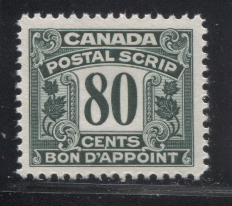 Canada #FPS21 80c Deep Bottle Green 1932-1948 First Postal Scrip Issue, A Very Fine Mint NH Example Brixton Chrome