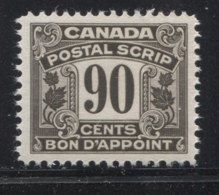 Canada #FPS22 90c Deep Sepia Brown 1932-1948 First Postal Scrip Issue, A Very Fine Mint NH Example Brixton Chrome