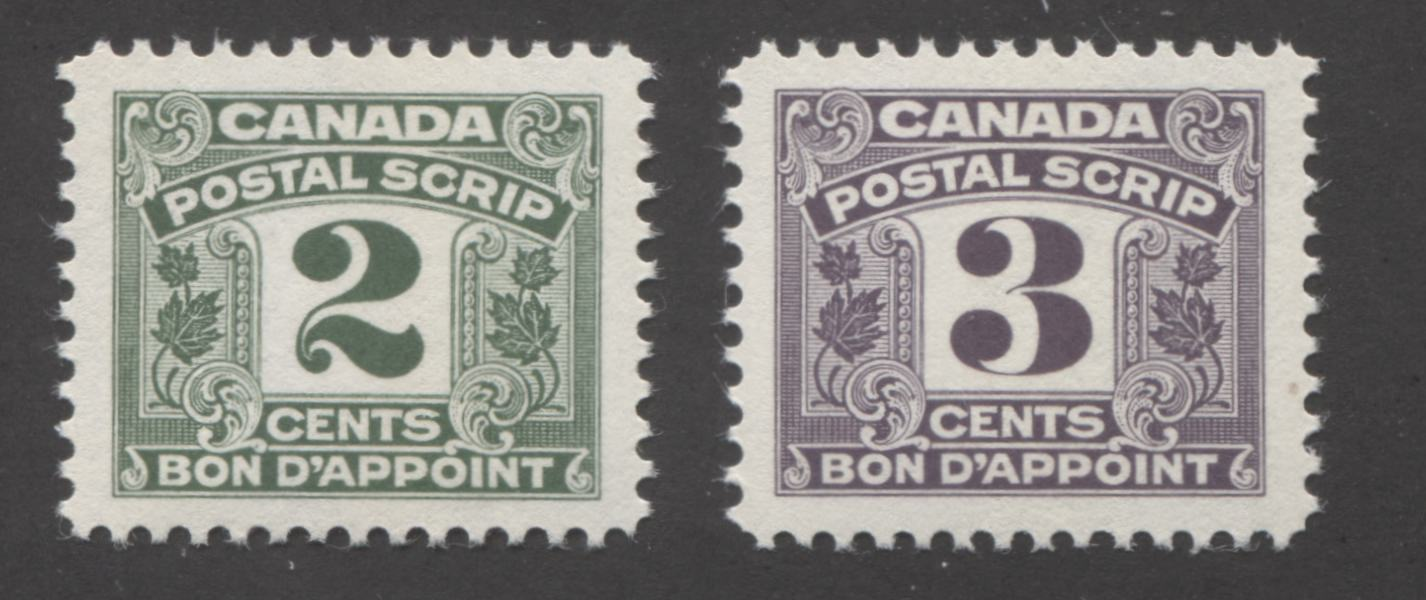 Canada #FPS24-25 2c Dull Green and 3c Deep Dull Violet, 1967 Second Postal Scrip Issue, Very Fine Mint NH Brixton Chrome