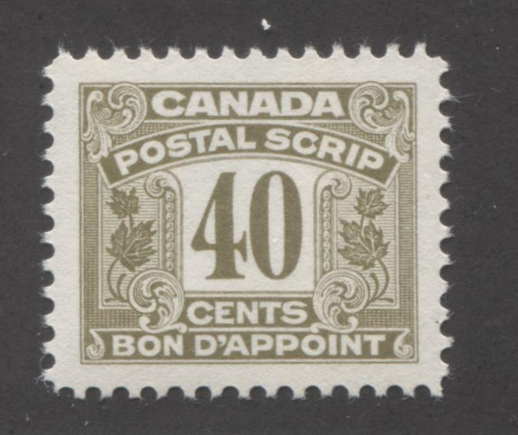 Canada #FPS35 40c Greyish Olive, 1967 Second Postal Scrip Issue, Very Fine Mint NH Brixton Chrome