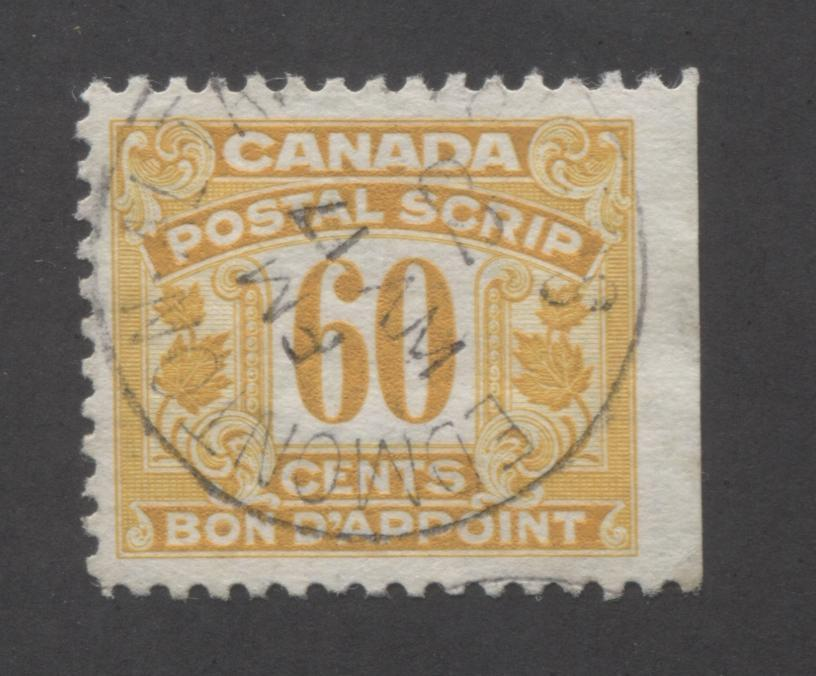 Canada #FPS37 60c Orange Yellow , 1932-1948 First Postal Scrip Issue A Very Fine Right Sheet Margin Single With May 17, 1962 Edmonton CDS, Showing Reversed Date Indica Brixton Chrome